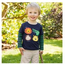 歐美風 男童 純棉長袖T恤-動物園