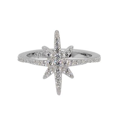apm MONACO法國精品珠寶 閃耀銀色繁星鑲鋯指節戒指