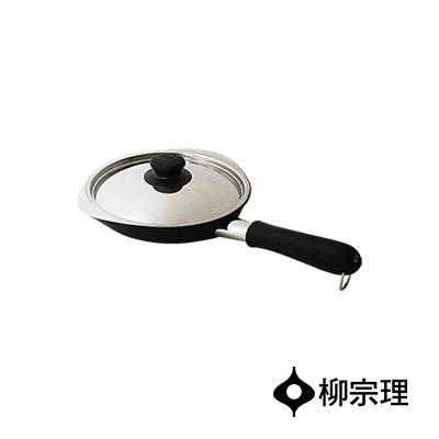 日本柳宗理-岩紋單手鐵鍋18cm-附蓋