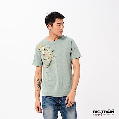 BIG TRAIN 纏月姬圓領短袖-男-灰綠