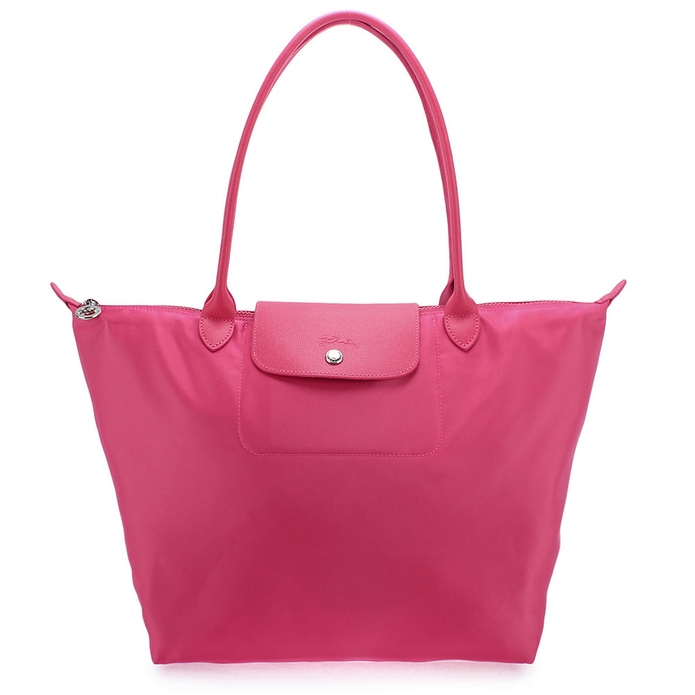 Longchamp厚尼龍中型長柄水餃包-櫻花粉