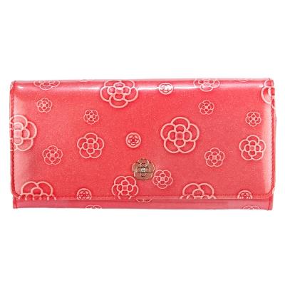 CLATHAS 山茶花壓紋漆皮單扣雙層多功能長夾-桃粉色 @ Y!購物