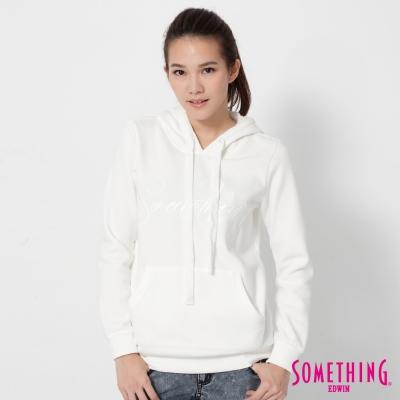 SOMETHING LOGO貼袋連帽T恤-女-白色