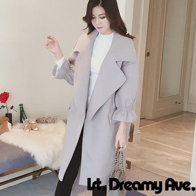 純色大翻領喇叭九分袖毛呢大衣 (共三色)-1st. Dreamy Ave.