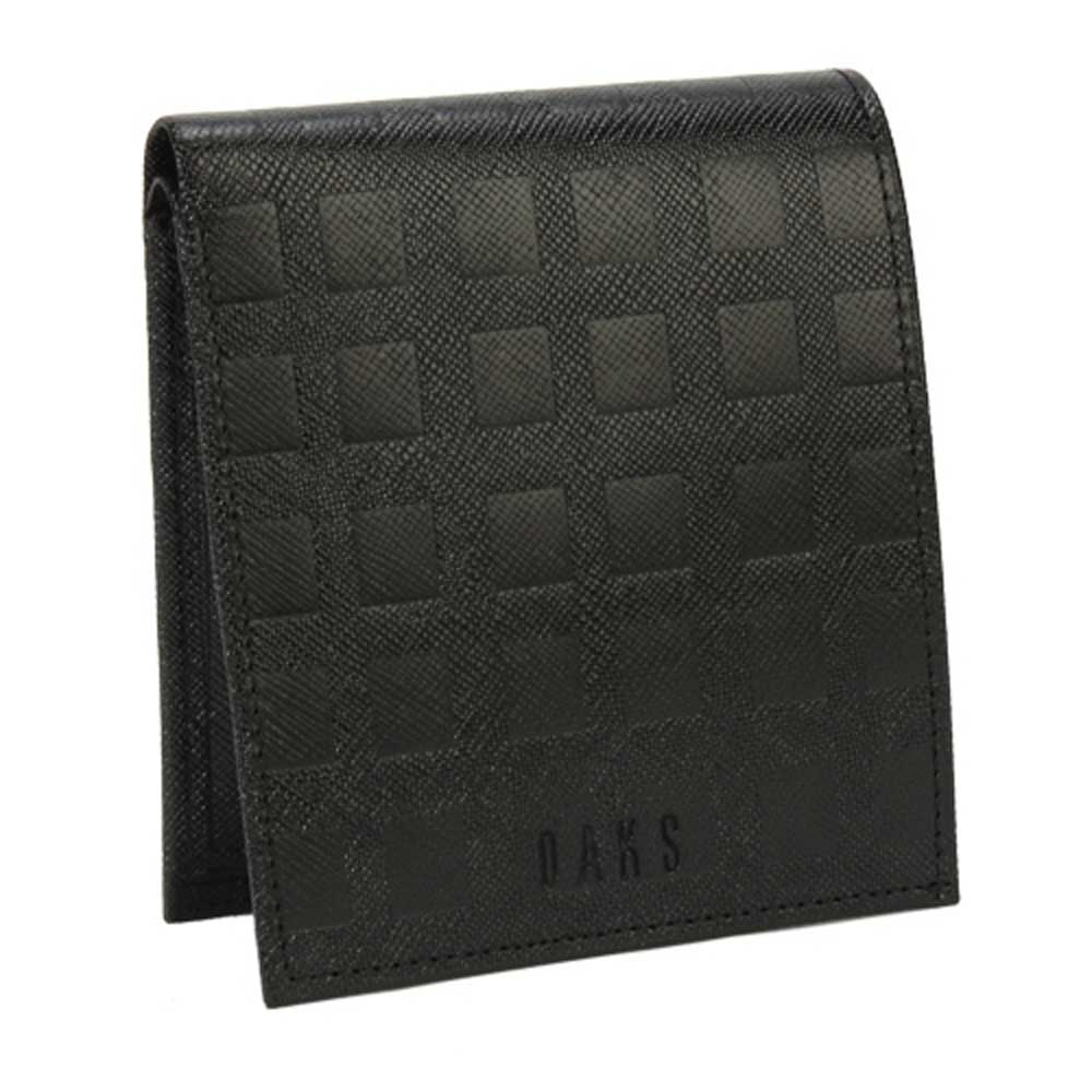 DAKS 經典立體正格紋零錢包短夾-黑色