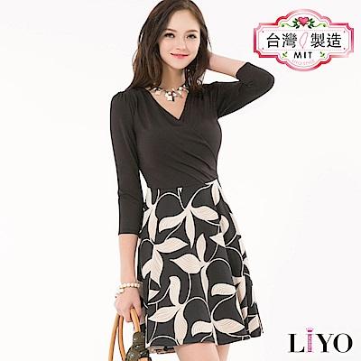 LIYO理優MIT印花V領洋裝(黑)