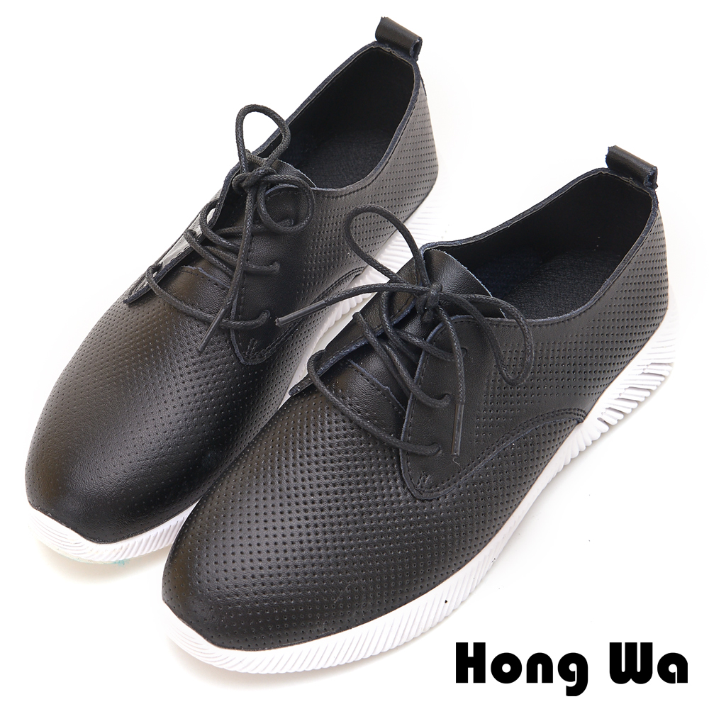 Hong Wa 率性綁帶穿孔牛皮造型休閒鞋 - 黑