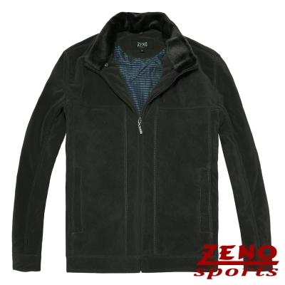 ZENO 保暖外套設計款紡絨條紋‧墨綠