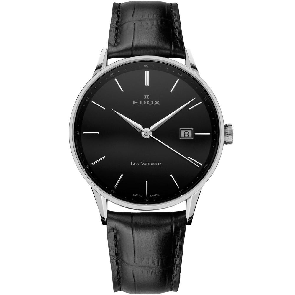 EDOX Les Vauberts 經典都會腕錶-黑/39mm