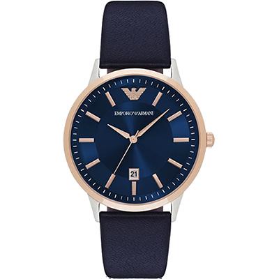 Emporio Armani Classic 都會時尚石英腕錶-藍x玫塊金x黑/ 43 mm
