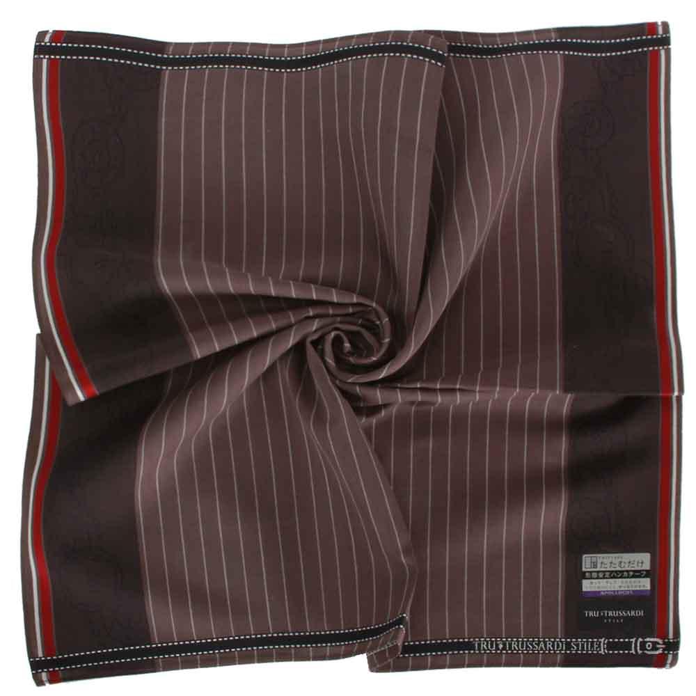 TRUSSARDI 直紋圓徽純棉帕巾-咖啡