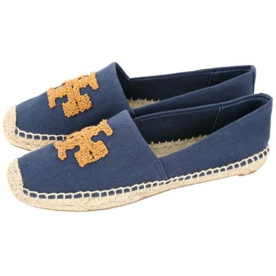 TORY BURCH Elisa 編織串珠LOGO麻料草編休閒鞋(深藍色)