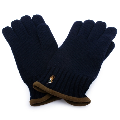RALPH LAUREN POLO 麂皮飾邊小馬刺繡LOGO羊毛手套-深藍色