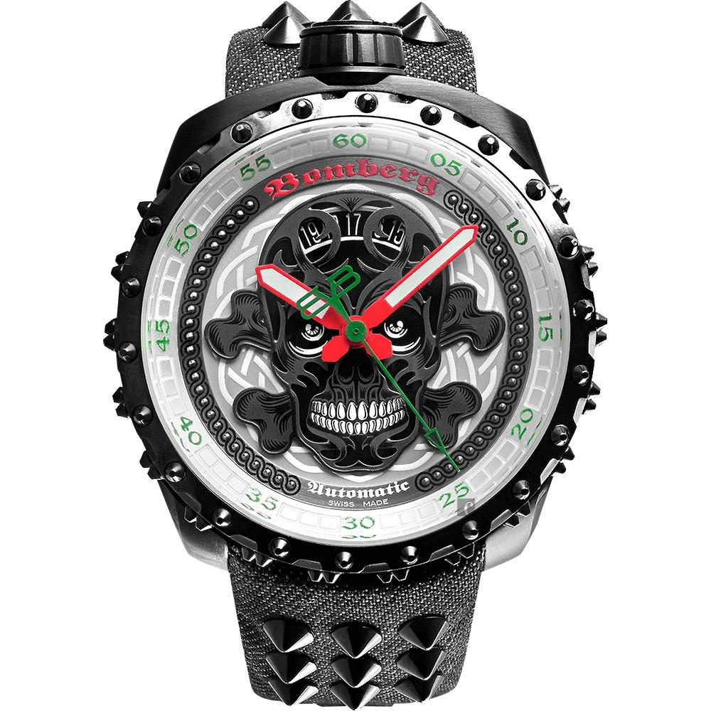 BOMBERG 炸彈錶 BOLT-68 BADASS骷髏限量版機械錶-銀x灰/45mm