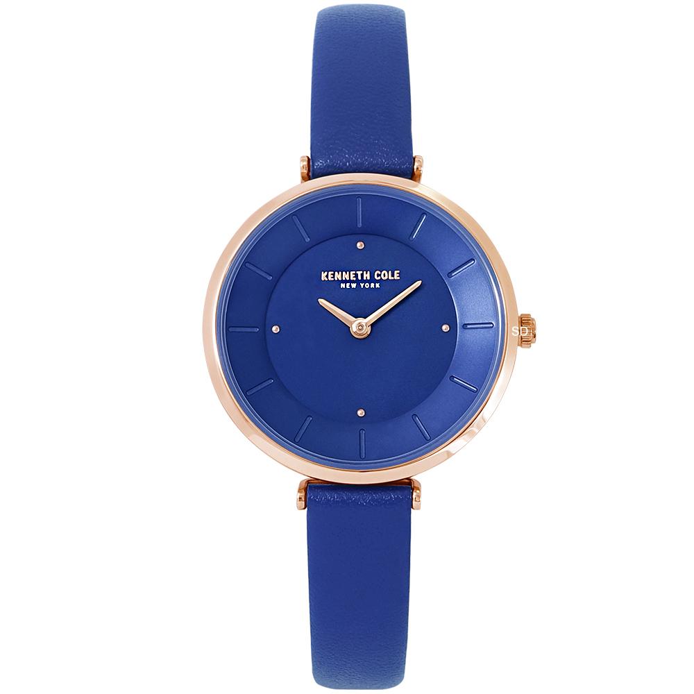 Kenneth Cole 簡約俐落時尚真皮手錶-藍/30mm