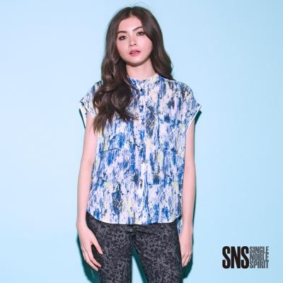 SNS 率性噴漆圖騰短袖襯衫(2色)