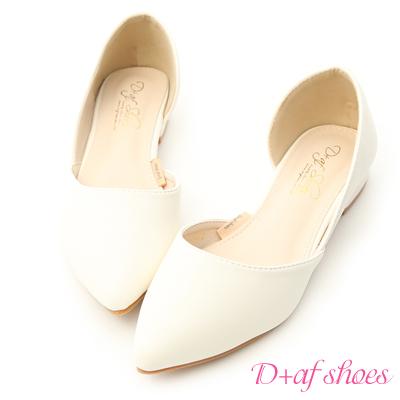 D+AF 粉彩繽紛.素面側挖空尖頭鞋*白
