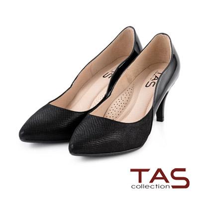 TAS-波浪曲線層次拼接尖頭高跟鞋-氣質黑