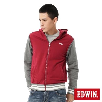 EDWIN-配色袖可拆連帽拉T-男款-紅色
