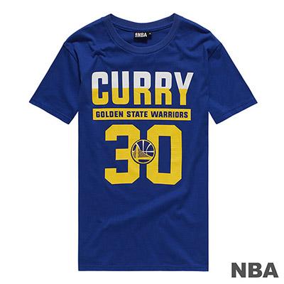 NBA-Stephen Curry勇士隊印花短T-藍 (男)