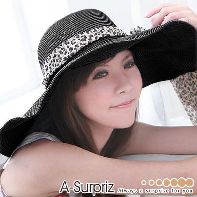 A-Surpriz★浪漫美人特大遮陽草帽(黑)
