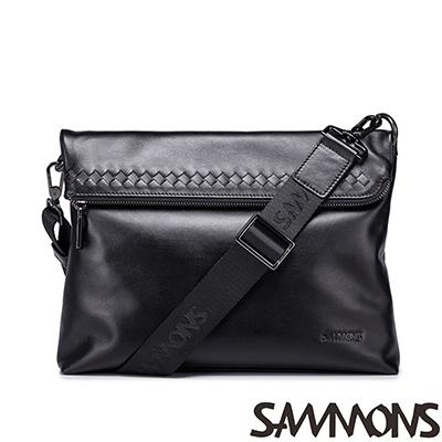 SAMMONS-真皮亨利手工編織點綴斜揹包-光澤黑