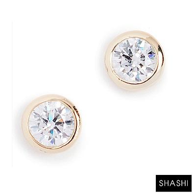 SHASHI 紐約品牌 Solitaire 圓形單鑽耳環 925純銀鑲18K金