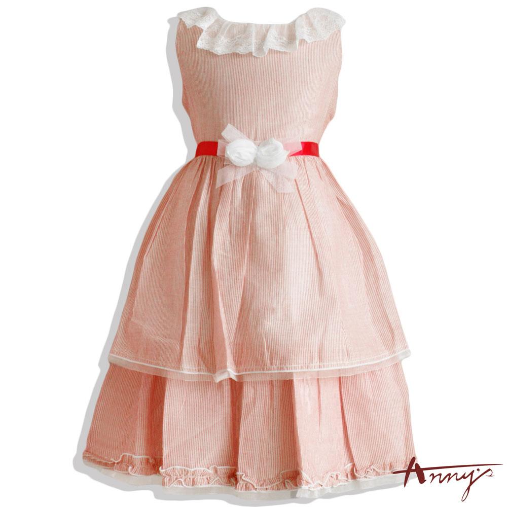 輕盈棉蕾絲領雙層蛋糕洋裝*2123紅