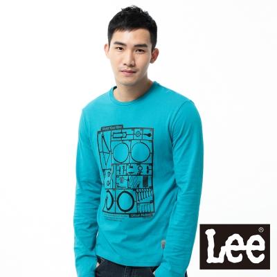 Lee-長袖T恤-單車玩具模型膠印-男款-藍綠