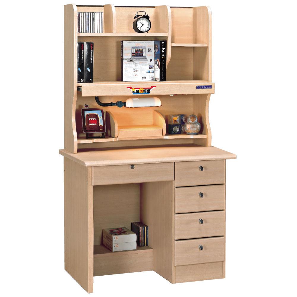 品家居 艾拉3.5尺白橡色書桌全組(上+下座)