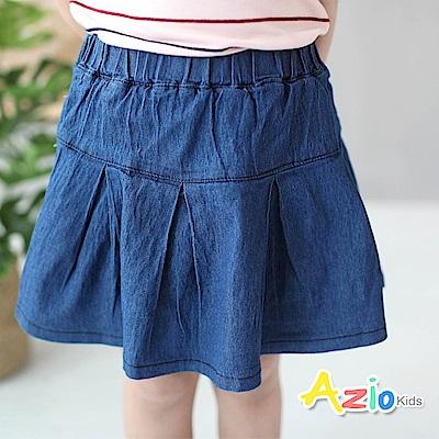 Azio Kids 童裝-短裙 百搭打摺傘襬褲裙(藍)