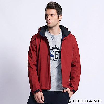 GIORDANO 男裝搖粒絨防風休閒外套 - 24 標誌紅