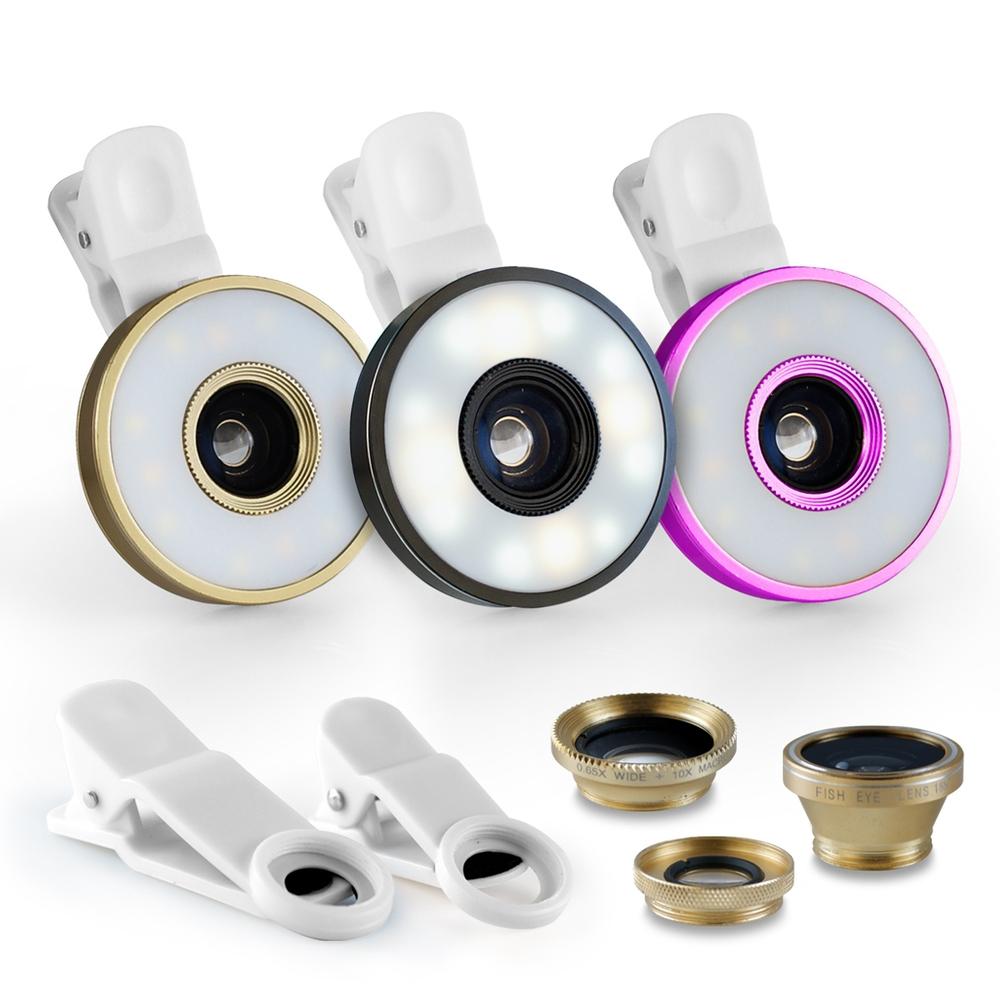6合1 微距/廣角/魚眼 通用型補光燈夾式特效鏡頭