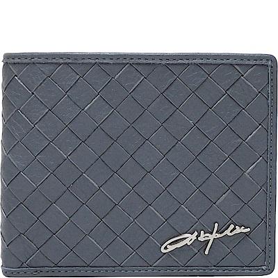 OBHOLIC 藍灰色編織義大利牛皮 短夾 皮夾 錢包