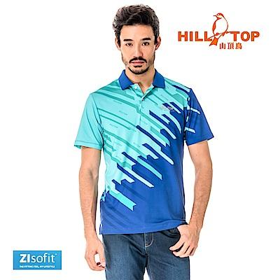 【hilltop山頂鳥】男款吸濕排汗抗UV彈性POLO衫S14MF7-藍印花
