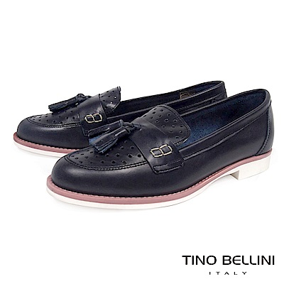 Tino Bellini 義大利進口沖孔流蘇樂福鞋_ 深藍