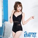 夏之戀SUMMERLOVE 比基尼泳裝 連身三角泳衣 黑色網紗