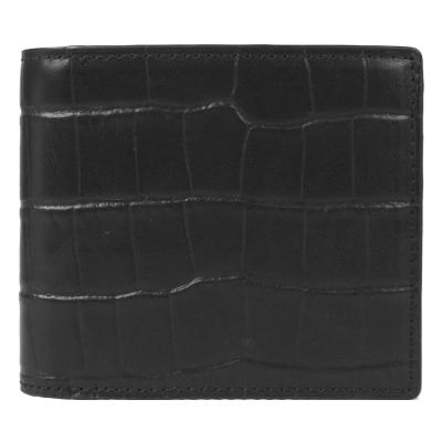 agnes b. 鱷魚紋皮革兩折短夾(黑)