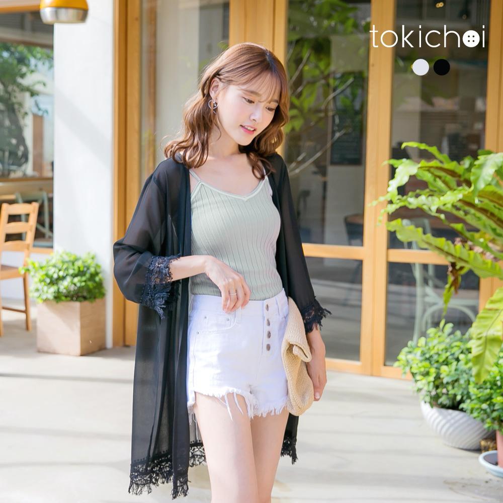 東京著衣剪接流蘇蕾絲長版罩衫外套共二色