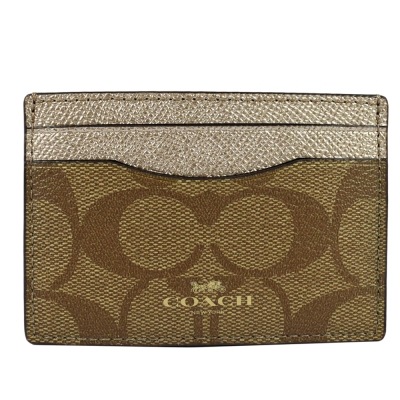 COACH 燙金logo防刮皮PVC拼接卡片夾(金)COACH