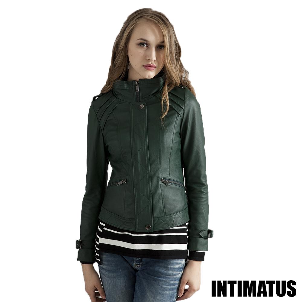 【真皮皮衣】復古運動風收帽小羊皮皮衣-運動綠色INTIMATUS