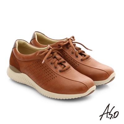 A.S.O 3D超動能 真皮沖孔奈米綁帶休閒男鞋 茶色
