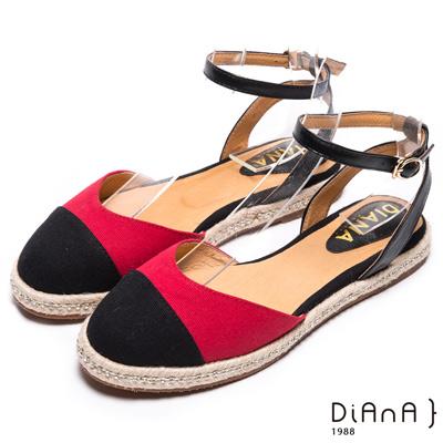 DIANA 新穎風尚--雙色時尚水鑽麻編涼鞋-黑X紅