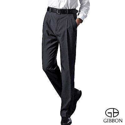 GIBBON 涼爽條紋打摺西裝褲‧黑灰31-42