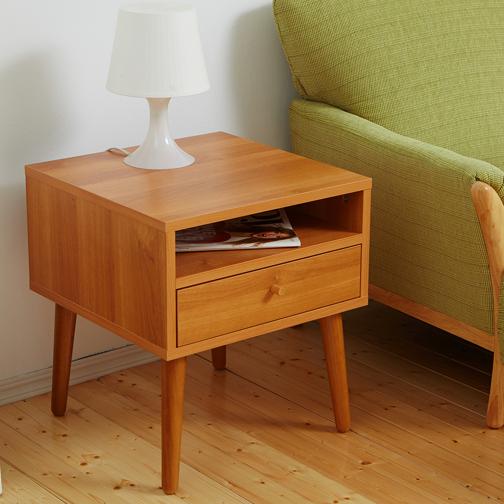 Bed Maker-投影機 抽屜收納茶几/邊桌‧實木桌腳 台灣製造(四色)