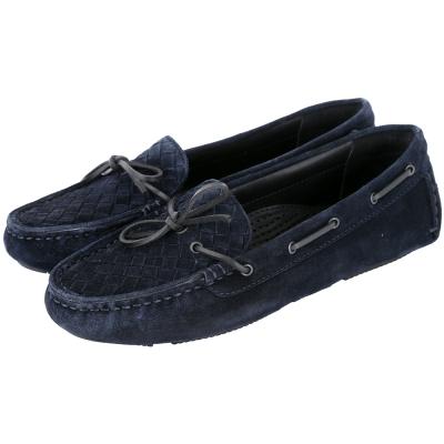BOTTEGA VENETA 麂皮編織綁帶莫卡辛鞋(深藍色)