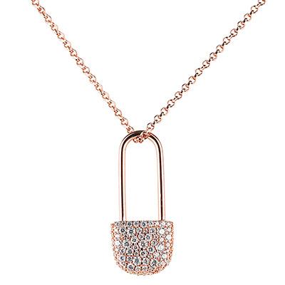 apm MONACO BABY XL系列晶鑽鑲飾別針設計純銀項鍊(玫瑰金)