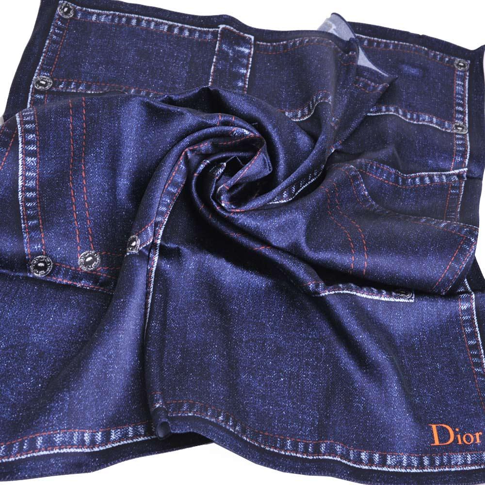 Dior 義大利製品牌LOGO單寧造型絲巾/領巾(牛仔丹寧色) @ Y!購物