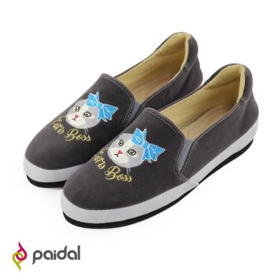Paidal天鵝絨質感電繡休閒樂鞋懶人鞋-華麗貓