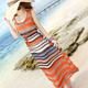 繽紛色彩條紋兩件式背心洋裝 (橘色)-CiA